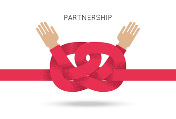 Symbol of business cooperation and partnership, sign of agreement or friendship. Vector concept illustration with couple of hand and knot of red rope. Design element for logo, icon and emblem