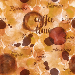Coffee Time seamless background texture, toned