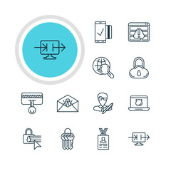 Vector Illustration Of 12 Privacy Icons. Editable Pack Of Corrupted Mail, Confidentiality Options, Key Collection And Other Elements.