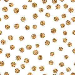 Golden glitter polka dots on white background. Abstract shiny seamless pattern with gold metallic confetti. Grunge vector backdrop for banner, wallpaper, paper for wrapping