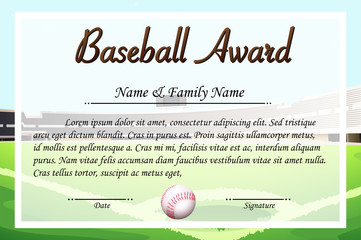 Certificate template for baseball award