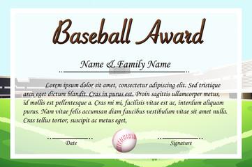 Certificate template for baseball award