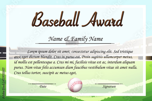 Certificate Template For Baseball Award Stock Image And Royalty