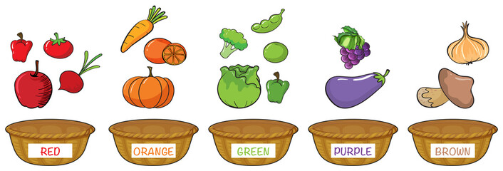 Different colors of fruits and vegetables