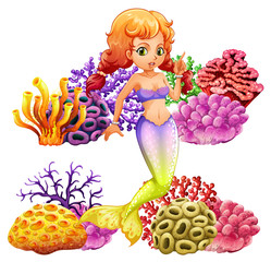 Beautiful mermaid and coral reef