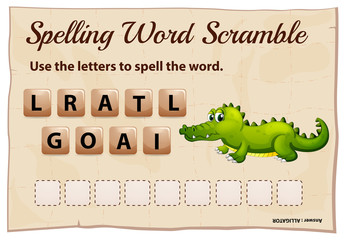 Spelling word game with word alligator