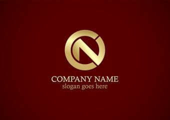 gold round letter n company logo