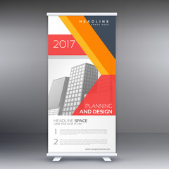 modern professional standee design with abstract geometric shapes