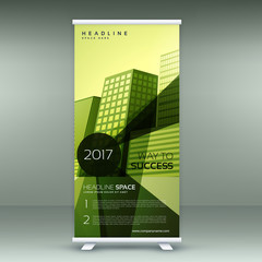 green modern roll up banner stand design with transparent geometric shapes