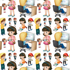 Seamless background with children in different actions