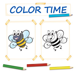 Coloring template with bee flying