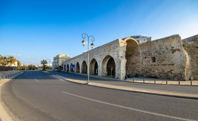 Neoria, old venetian walls of the shipyards at Heraklion, Crete, Greece.