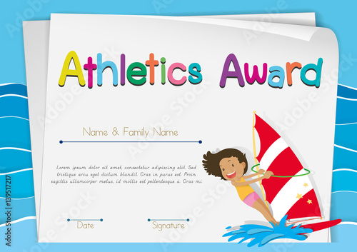 Certificate template for athletics award stock image and royalty certificate template for athletics award yelopaper Image collections
