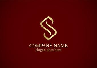 gold line letter s logo
