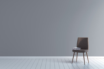 blank room with vintage chair 3d illustration