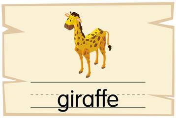 Wordcard design for word giraffe
