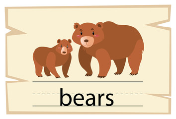 Wordcard template for word bears