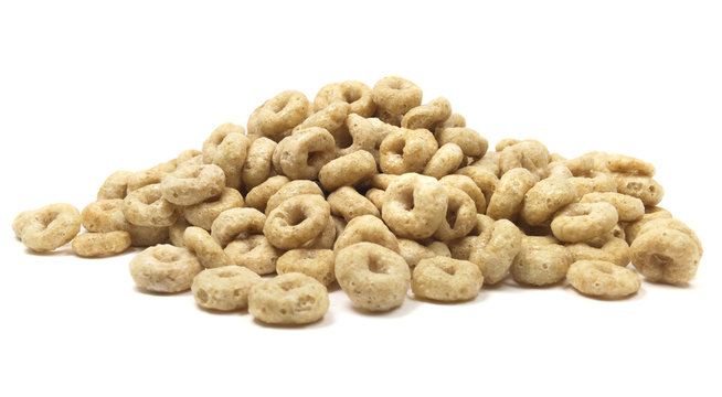Isolated cheerios cereal on a white background.
