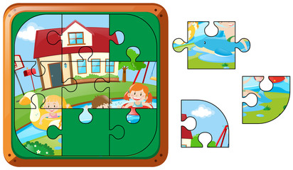 Jigsaw puzzle pieces of kids swimming