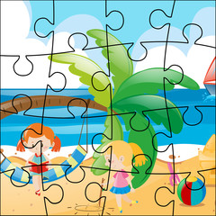 Jigsaw puzzle game with girls on the beach