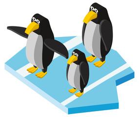 3D design for three penguins