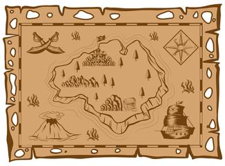 Treasure map on brown paper
