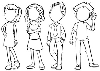 Faceless people character in black and white