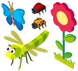3D design for insects and flower