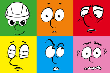 Facial expressions on six color backgrounds