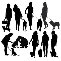 People and Dog Silhouettes, art vector design