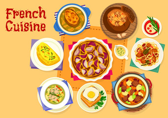 French cuisine healthy food icon for lunch design