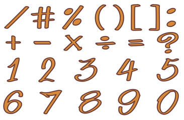 Font design for numbers and signs in brown color