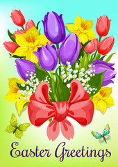 Easter flowers with ribbon greeting card design