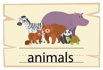 Wordcard design for word animals