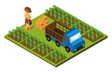 3D design for farmer and truck on farmyard
