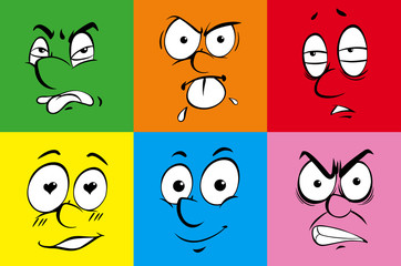 Human facial expressions on colorful background