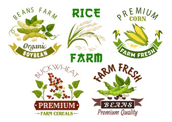 Vegetable, cereal, bean farm emblem set design