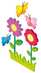 3D design for butterflies flying in garden