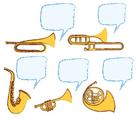 Different musical instruments with bubble speech