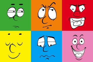 Facial expressions on colorful squares