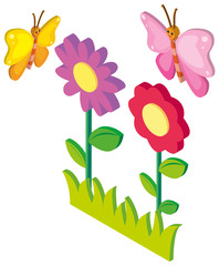 3D design for butterflies and flowers