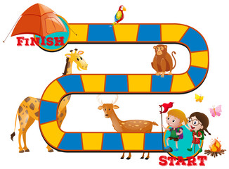 Game template with wild animals and kids