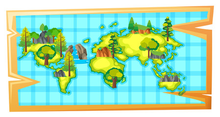 Worldmap with natural resources on earth