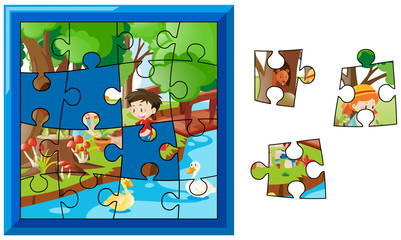 Jigsaw puzzle game with kids in garden