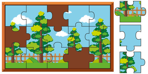 Jigsaw puzzle pieces of trees in park