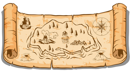Treasure map on roll paper