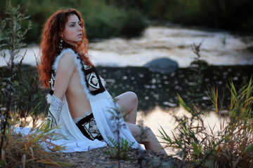 girl clothes sit river fantasy