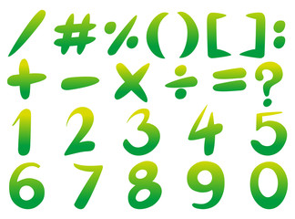 Numbers and signs in green color