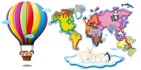 Worldmap with animals and balloon riding