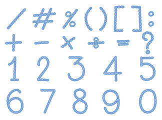 Font design for numbers and signs in light blue